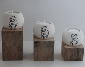 Tea Light Holder Set - Bulldog
