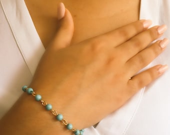 Turquoise Wire Wrapped Bracelet