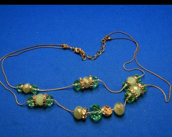 Vintage 2 Strand Sparkling Green Faceted Crystal Glass and Rhinestone FashionNecklace