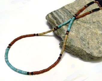 Mens Turquoise Necklace, Native American, inspired, Southwestern, Mens Beaded Necklace, Womens Beaded Necklace, Natural Turquoise, Heishi