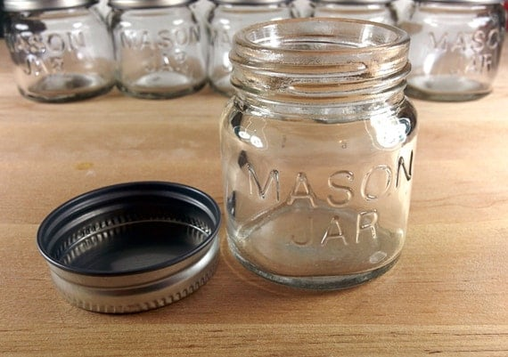4 or 6 packs 2 oz mini mason jars w lids shot by ebridalroom. Black Bedroom Furniture Sets. Home Design Ideas