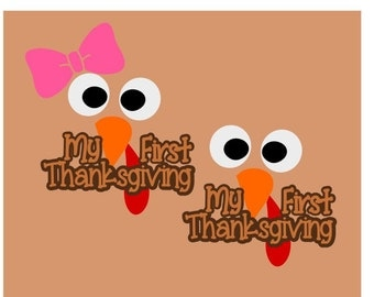 My First Thanksgiving; SVG, DXF, PS, Ai and Pdf Digital Files for Electronic Cutting Machines