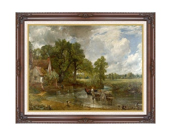 The Hay Wain John Constable Landscape Framed Painting Reproduction Canvas Art Print Wall Artwork - Sizes Small to Large - M00436