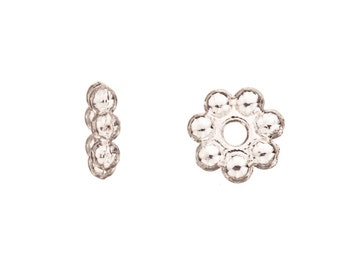 Daisy Spacer beads Silver Plated 8x2.2mm rondelle spacer sold per pack of 30