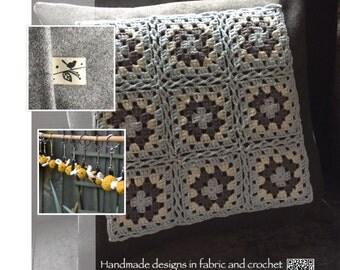Hand crochet panel cushion.