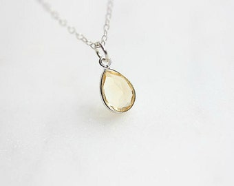 Citrine Necklace in Sterling Silver -Silver Citrine Necklace -November Birthstone Necklace -  Bridesmaid gift jewelry