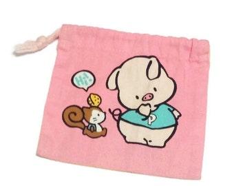 Vintage 1993 Rare HTF Sanrio Kobutano Pippo The Pig Character Drawstring Bag