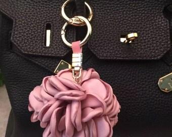 Floral Purse Bag Charm Silk Flower Cute Women Bag Accessories