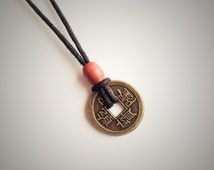 Chinese Coin Necklace, Chocker Necklace, Chinese Feng Shui Wealth Lucky Coin Charm Pendant Necklace Vinatge Tribal, Chinese Characters