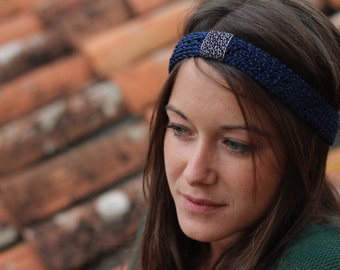 Blue and silver mesh headband - hand knitted.