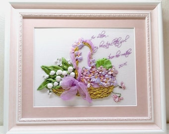 embroidered ribbons, lilies and violets basket with flowers handmade personalized gift spring flowers. Made to order