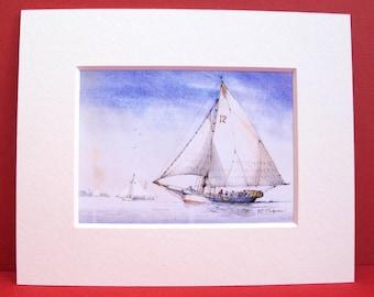 USA Chesapeake Bay Skipjack Oyster Dredgers Two Sails Sloop Rigged Trawling Coastal Seascape Galley Unique Marine Art Print Shelf Display