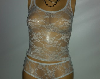 NEW! TANK & PANTIES  (White)  #7C  Now available in plus size
