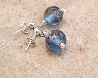 Blue drop earrings, silver dangle earrings, glass bead earrings, dangle earrings, minimalist earrings, post earrings, blue dangle earrings
