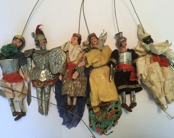 "Rare Set of Six 6"" H Different Medieval Characters Antique Sicilian Puppets Marionettes!"