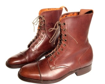Marlborough Leather Ladies Paddock Boots, Brown, Made in England Ankle Boots UK Size 7, US 9.5