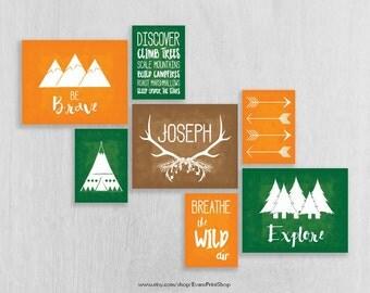 Adventure Nursery Art Prints Set of 7 - Woodland Nursery - Be Brave, Explore - Childrens Art - Tribal Nursery Art - Camping Nursery