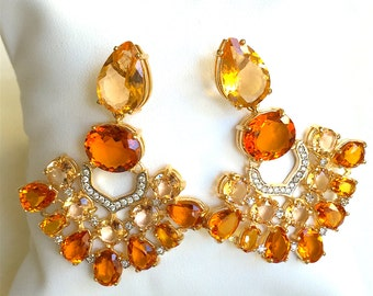 50% off until March 11th - Citrine and Zircon earring