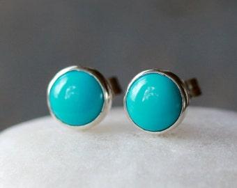 Turquoise Stud Earrings, Sleeping Beauty Turquoise, Sterling Silver Post, Classic Stud Earrings, Boho Stud Earrings, 6mm Size Dot