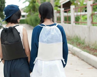 White  Mesh Leather Drawstring Bag Transparent Backpack Clear Rucksack Travel Fitness School Bag