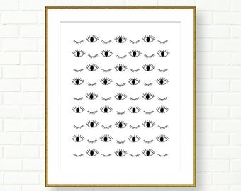 Vanity Wall Art, Eyes print, Black White, Makeup, Eyelashes, Blinking Eyes, Bathroom Decor, INSTANT DOWNLOAD, Pattern, Abstract, PRINTABLE