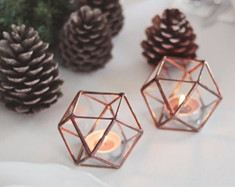Glass Geometric Candle Holders, Holiday Lights, Christmas Decor, Stocking Stuffer, Geometric Hurricanes, Stained Glass Candle Holder Set