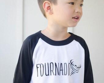 Fourth Birthday Shirt - 4th Birthday Shirt - Fournado Shirt - Four Shirt - Boys Birthday Shirt - Girls Birthday Shirt - Kids Raglan Tee
