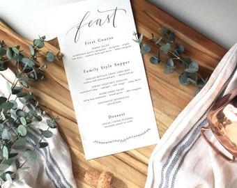 modern calligraphy wedding menu with laurel modern calligraphy menu · wedding menu · custom calligraphy · custom menu · printable menu