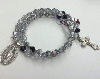 Full Rosary Glass Silver and Black Bead Bracelet