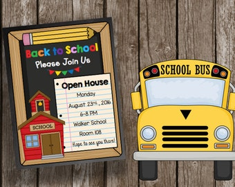 50% OFF SALE Open House Invitation - Back to School - Meet the Teacher - Preschool - Kindergarten - Printable PDF