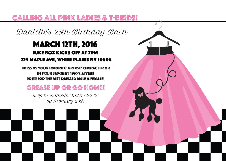 Grease Theme Birthday Invitation