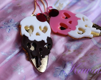 Drippy Skull Pastel Goth Ice Cream Sundae Scoop Laser Cut Acrylic Necklace