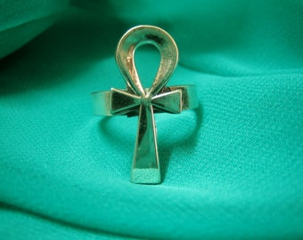 Gorgeous Trendy Egyptian Sterling Silver Ankh Ring, Egyptian ring, bague
