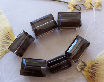 Smokey Quartz Gemstone Faceted Chunky Rectangle Beads ~ 6 Pieces ~ 10x14mm-11x16mm ~ A Grade Gem Quality