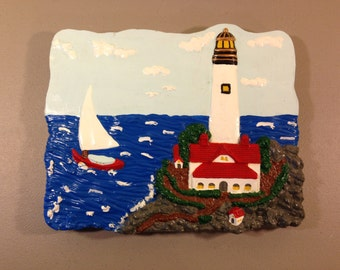 Painted Lighthouse Stepping Stone, Very Detailed Stepping Stone, Garden Decoration, Lawn Decoration,