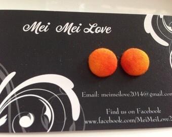 Button earrings, fabric button earrings, stud earrings, earrings for girls, orange earrings