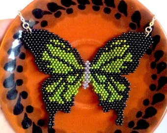 SEED BEAD NECKLACE, Native American Beadwork, Butterfly Beaded Necklace, Seed Bead Pendant