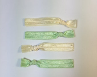 Hair Elastics - No Crease Fold Over Elastic Hair Ties -- Cream and Light Green -- Set of Four