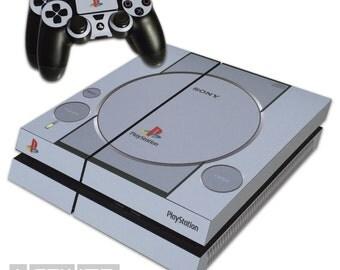 Playstation 4 PS4 - Playstation One 1 Grey Skin Sticker Kit - PS1 Retro Logos