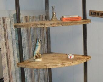 Industrial modern corner shelf