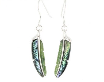 Canadian Nephrite Jade and Abalone Earrings,  Silver Earrings - Feather Earrings  - Summer Sale - 10% off - Promo Code: Summer2017