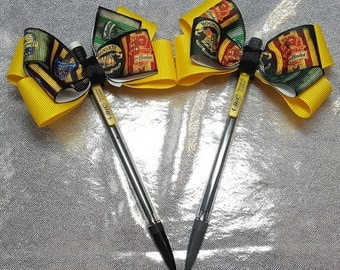 Harry Potter inspired Pen, harry potter inspired Pencil, yellow bow, harry potter ribbon, lanyards also available, harry potter bow