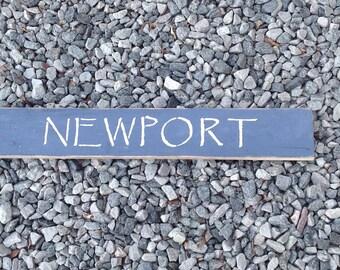 Newport Sign, Coastal town, Rhode Island,beach town,Beachy, coastal, nautical, coastal decor, nautical decor, reclaimed wood, Hand painted