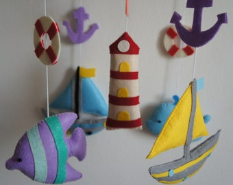 Mobile ocean boats, fish, whale, Lighthouse, buoy and anchor
