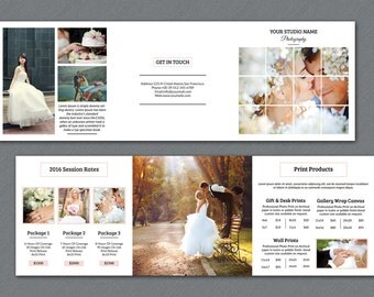 Wedding Photography Brochure | 5x5 in Square Trifold Pricing Template | Photography Pricing Brochure | Instant Download