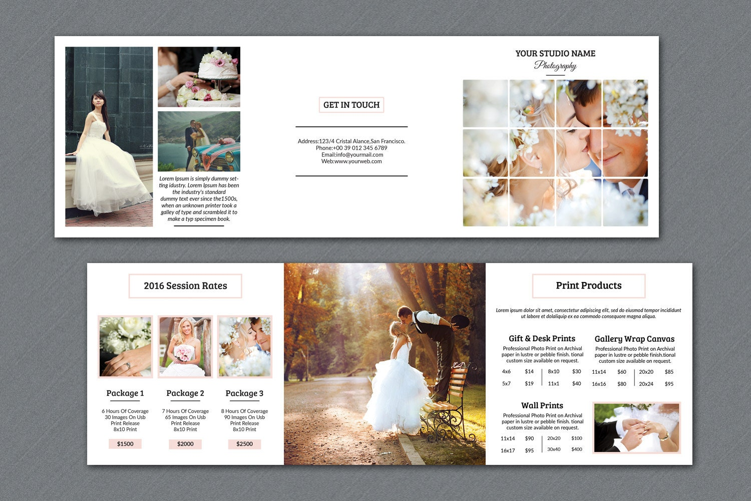 Wedding Photography Brochure 5x5 In Square Trifold Pricing