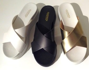 100% leather SLIPPER Platform SANDAL
