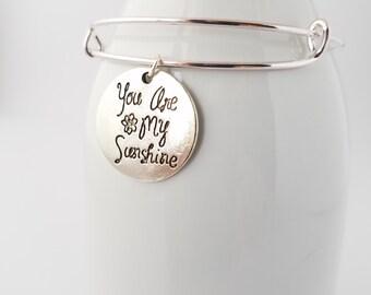 You are my sunshine silver plated bangle bracelet - love - hope - inspiration