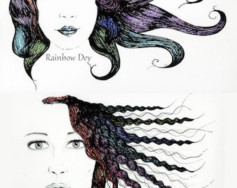 Rainbow Hair - choice - felt - UNIQUE work, dated and signed - delivery available in France!