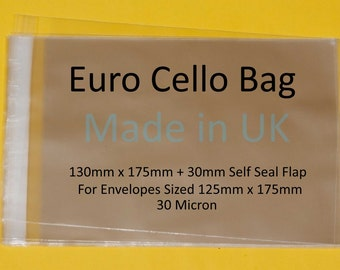 Euro Cello Bags for Cards  130mm x 175mm + 30mm Self Seal Lip Clear Cello Display Bags - 30 Micron
